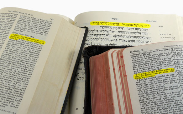 a Bible passage highlighted in 3 languages